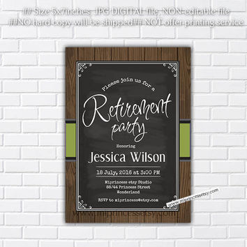 Retirement Invitations, Retirement party Invitation, Retirement Celebration retro vintage Invite, chalkboard - card - card 137