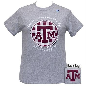 Texas A&M Aggies Buffalo Plaid Logo Sports Grey T-Shirt