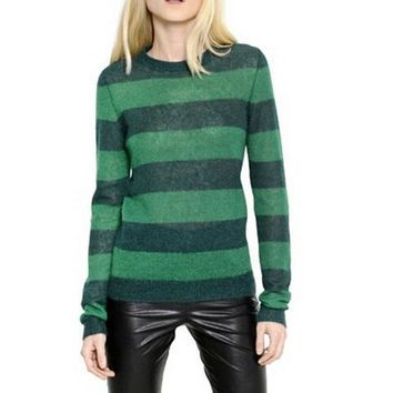 VogaIn 2016 Spring Women Fashion NEW Green Dark green striped super kid mohair-blend knit sweater Rib-knit crewneck Pulls Over