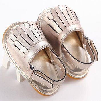 Girls Soft-Soled Fringed Sandal