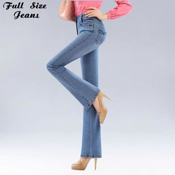 Autumn High Waist Flare Jeans Pants Plus Size Stretch Skinny Jeans Women Wide Leg Slim