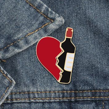Trendy 2pcs/set Broken Heart Wine Bottle Enamel Pins Fashion Love Brooch for Lover Denim Jackets Metal Badge Pin Backpack Jewelry Gifts AT_94_13