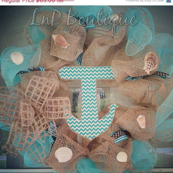 ENTIRE SHOP SALE 15% Nautical wreath - burlap mesh wreath, summer wreath, anchor decor, nautical wreath decor, anchor wreath