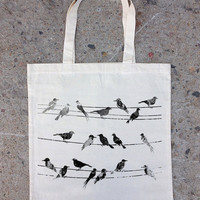 Birds and Power Lines - Natural Cotton Canvas Tote