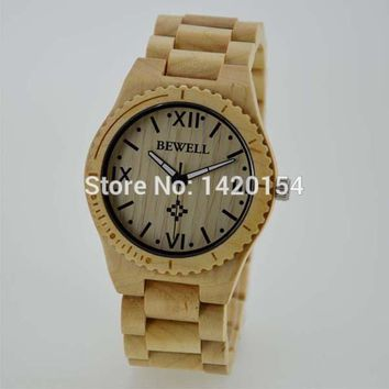 Eco-friendly Men's Bewell Mapple Wood Wristwatch Natural Wooden Watches Relojes