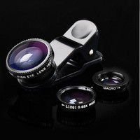 3in1 Fish Eye + Wide Angle Micro Lens Camera Kit for iPhone Samsung HTC LG Sony