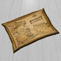 "Game Of Thrones Map Cover Pillow  Size 30"" x 20"""