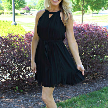 Write Your Story Black Pleated Dress