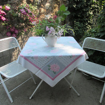 Vintage 1940s Tablecloth Peonies Floral Square Cotton Pink Grey White