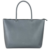 Leather Laptop Tote Gray - Whitney | Daame