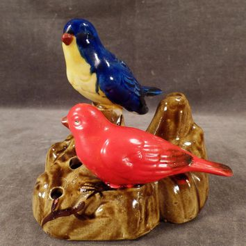 Vintage Flower Frog - Two Colorful Birds - Made in Japan