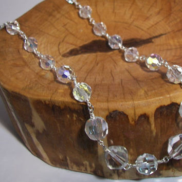Up Cycled Reconstructed Vintage Crystal Bead Necklace Wedding Shabby Chic Sterling Silver hook And Eye Clasp
