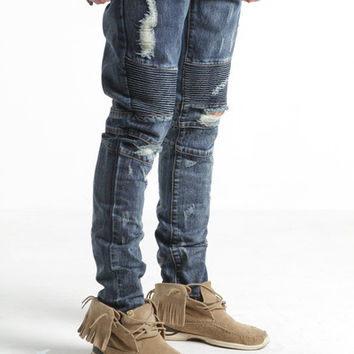 Wraith Biker Ripped Denim (Dark Blue) – Embellish NYC