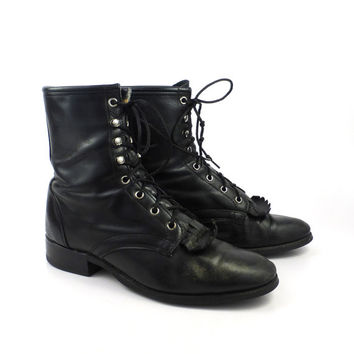 Roper Boots Vintage 1980s Laredo Leather Black Granny Lace up Packer Women's size 9 M