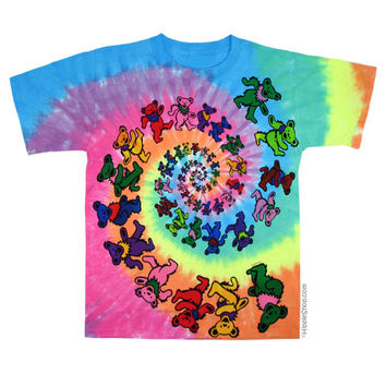 Grateful Dead - Spiral Bears Tie Dye T Shirt on Sale for $24.99 at HippieShop.com