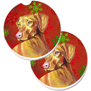 Vizsla Red and Green Snowflakes Holiday Christmas Set of 2 Cup Holder Car Coasters LH9325CARC