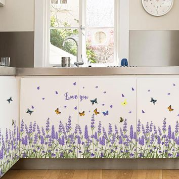 [Fundecor] purple lavender Wall Stickers home decor living room Kitchen bedroom window decals diy flowers self adhesive film