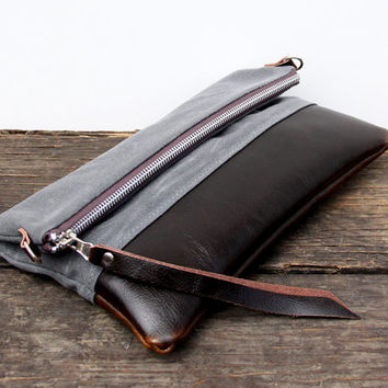 Waxed Canvas Leather Convertible Messenger Bag/Foldover Clutch - Gray and Dark Brown Glaze