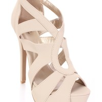 Beige Strappy Peep Toe High Heel Booties Nubuck