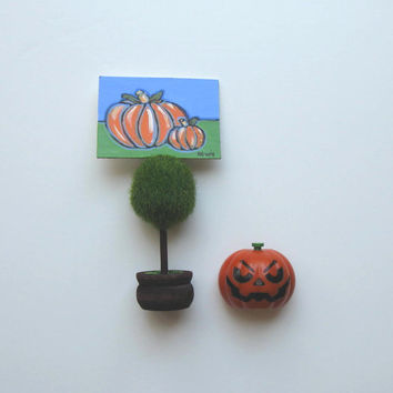 Pumpkin ACEO, original painting,  halloween painting, Topiary place card holder, acrylic, name tag holder