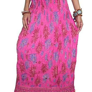 Skirt Women's Ethnic Floral Print Pink Sequin Crinkle Long Skirt