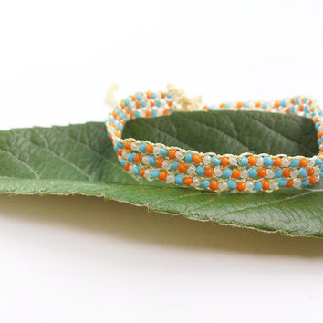 Beadwork bracalet Beaded bracelet Seed bead jewelry Turkish needle lace Oya jewelry Turkish jewelry Beaded jewelry Orange blue white
