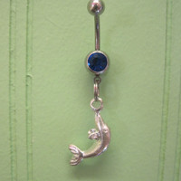 Belly Button Ring - Body Jewelry -Silver Fish With Dark Blue Gem Stone Belly Button Ring