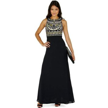 Tribal Inspired Long Black Night Gown