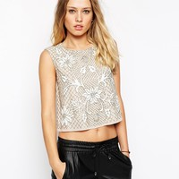 Needle & Thread Embellished Floral Mesh Top