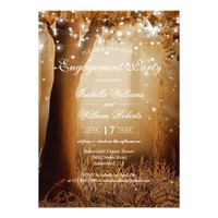 Rustic Country Tree String Lights Engagement Party Card
