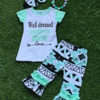 Well Dressed Southern Mess Outfit, Southern Mess Shirt, Girls Aztec Leggings, Southern Girls Outfit, Aztec outfit, Aztec Shorts, Summer