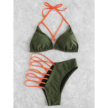 Criss Cross Ladder Cut Out Bikini Set