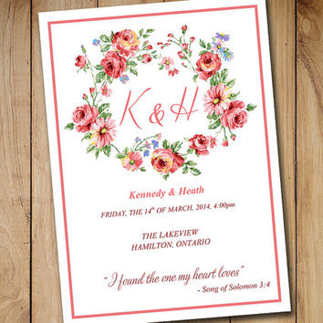 Fold Over Wedding Program Template - Vintage Flower Wreath Program - Microsoft Word Template - Shabby Chic Program - Blush Pink Guava Red