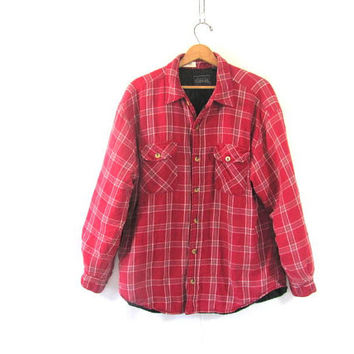 Vintage Plaid Flannel Jacket / Grunge Shirt / red Button up insulated shirt / quilted coat