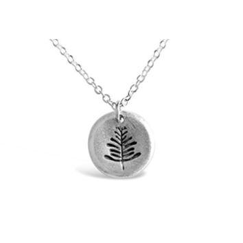 Dainty Round Plate Leaf Necklace