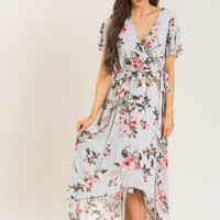 Melody Grey Floral Wrap Maxi Dress