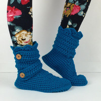 Women's Crochet Peacock Blue Slipper Boots, Crochet Slippers, Crochet Booties, Crochet House Shoes, Crochet Winter Boot, Aqua Blue Slippers