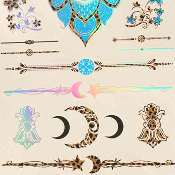 Temporary Tattoo Powerful Totem Gilding Waterproof Metallic