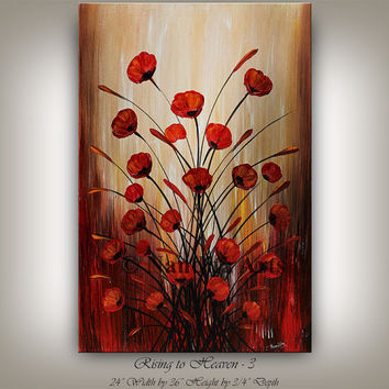 Original large painting, Textured Red Flower Art, poppies, Floral painting, Abstract impressionist, Modern artwork, Deco Art 24x36 Nandita