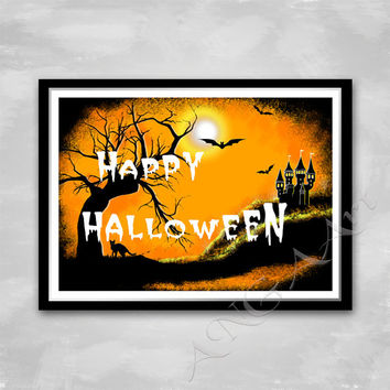 Halloween, Happy Halloween poster, Halloween print, Halloween Home decor, Digital print, Printable, Halloween home decoration, Download