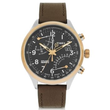 Timex Designer Men's Watches Fly Back Chrono Stainless Steel Case and Leather Strap Men's Watch