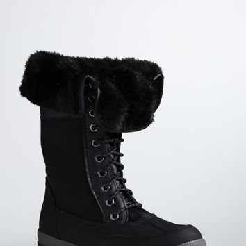 Rubber Faux Fur Cold Weather Boots (Wide Width)