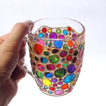 Sun Catcher Coffee Mug Hand painted bright mug multi coloured with gold cup painted glass cup