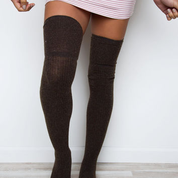 Aimee Thigh High Socks - Mocha