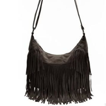 Vintage Fringe Crossbody Messenger Bag   HIppie Fringe That's Back In Style! Black