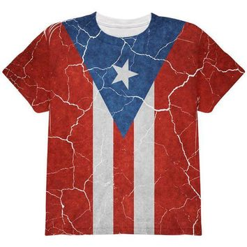 CREYON Distressed Puerto Rican Flag All Over Youth T Shirt
