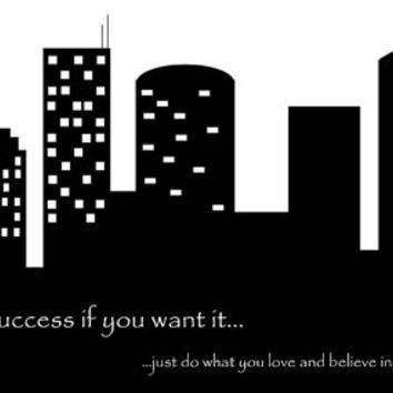 Black & White Cityscape Silhouette - Digital Download 36x18 - Printable