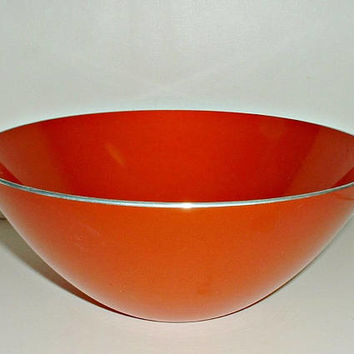 Orange Emalox Bowl 8 1/4 Inch Mid Century Table Decor Emalox of Norway Enamelware Scandinavian