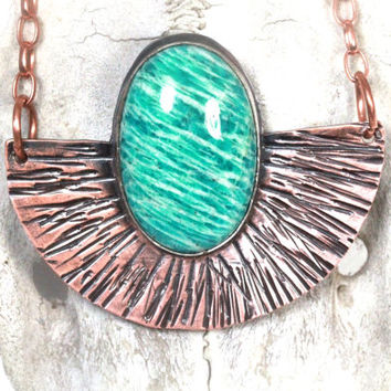 Amazonite Necklace Blue Stone Necklace Statement Necklace Copper Jewelry Big Necklace Big Gemstone Necklace Bohemian Necklace