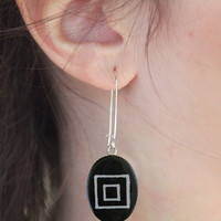 Black geometric earrings minimal black and white concentric squares abstract hand painted bohemian boho dangle long drop surgical steel
